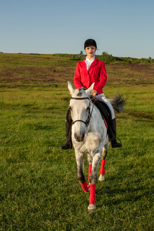 Young woman rider, wearing red redingote and white breeches, with her horse in evening sunset light. Stock Photo