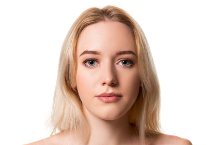 Young blonde woman without makeup on white background Banco de Imagens - 112653249