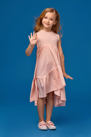 Fashionable little girl in a pink dress is posing on a blue background.