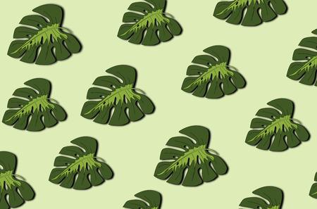 Tropical leaves pattern. Green leaf monstera seamless.