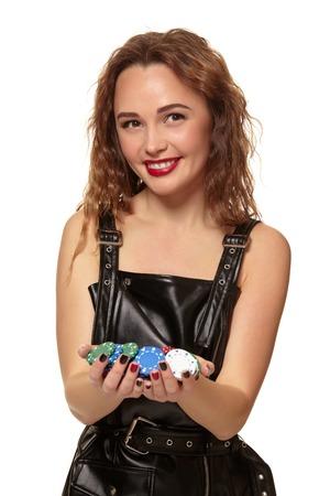 Casino concept. Portrait of young pretty caucasian woman, playing in casino.
