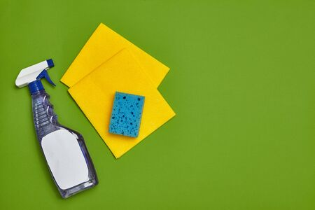 Detergents and cleaning accessories on a green background. Housekeeping concept.