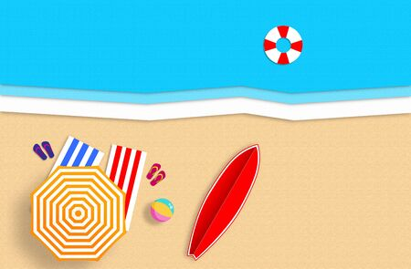 Summer concept. Gold sandy beach, sea and relax places. Handmade, paper composition. Archivio Fotografico