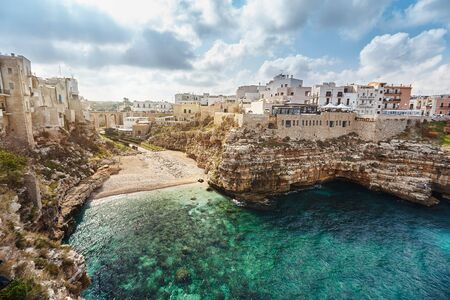 Beautiful scenery of Polignano a Mare, town in the province of Bari, Puglia. Imagens