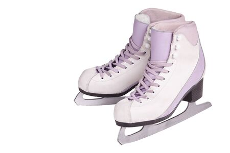 Close-up photo of professional ice skates standing isolated on white. The concept of sports, recreation, leisure.