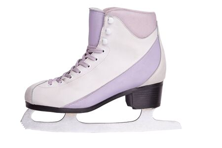 Close-up photo of a quality professional ice skate standing isolated on white. The concept of sports, recreation, leisure.