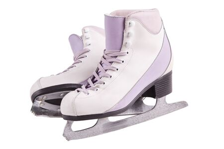 Close-up photo of a solid professional ice skates standing isolated on white. The concept of sports, recreation, leisure.