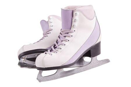 Nahaufnahmefoto einer festen professionellen Schlittschuhe, die lokalisiert auf Weiß stehen. Das Konzept von Sport, Erholung, Freizeit.