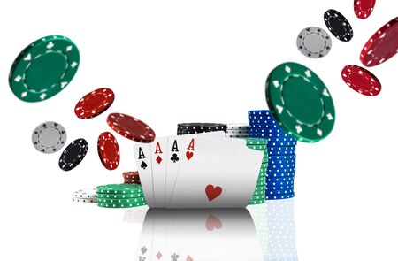 Close-up photo of four aces, multicolored chips in piles standing behind and some of them are flying apart, isolated on white background. Gambling entertainment, poker, casino concept.