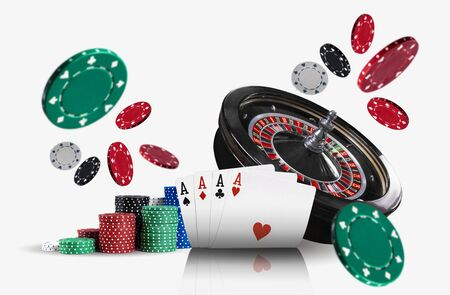 Close-up photo of four aces ahead of a black roulette and colored chips in piles which are flying apart, isolated on white background. Gambling entertainment, playing cards, poker, casino concept.