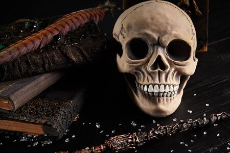 Realistic model of a human braincase with teeth, books, feather, magic wand are on a wooden dark table. Small broken glass is scattered around. Black background. Medical science or Halloween horror concept. Magic, wizardry, miracles. Close-up shot.