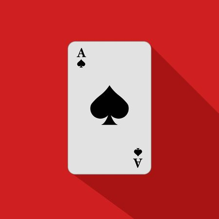 Ace of spades on a red background. Vector illustration. Close-up. Gambling entertainment, poker, casino concept. Playing card.