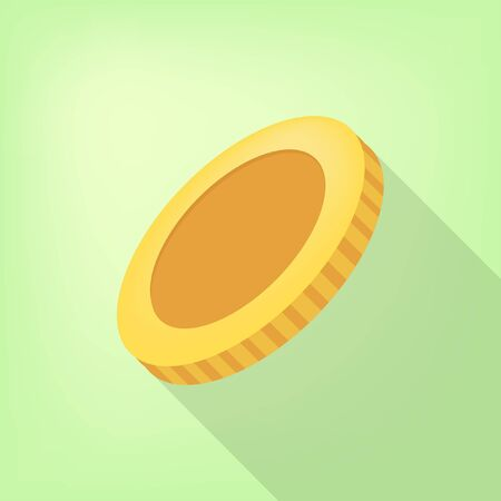 Yellow coin on a lime background. Vector illustration. Close-up. Gambling entertainment, poker, casino concept.