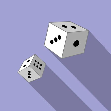 Dices on a blue background. Vector illustration. Close-up. Gambling entertainment, poker, casino.