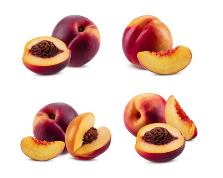Set of smooth-skinned whole nectarines and parts with kernels and without them isolated on white background with copy space for text or images. Variety of peach. Side view. Close-up shot.
