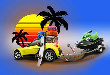 Yellow car with suitcases on roof and wakeboard leaning on it, trailer with jet ski, palms and sun on blue background. Collage. Copy space, close-up.