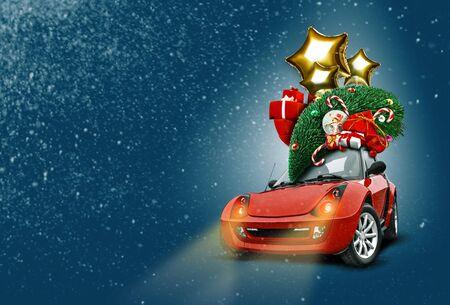 Orange car on blue with christmas decoration 版權商用圖片