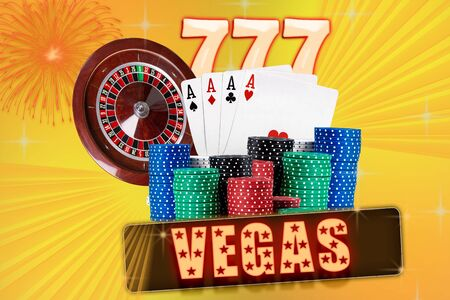Four aces behind stacks of chips, colorful sparkling background. Three sevens and roulette behind. Collage with inscription vegas. Casino. Close-up