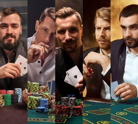 Collage of males in classic suits. They sitting at green table with colorful chips on it, holding aces, smoking sigar. Poker, casino. Close-up