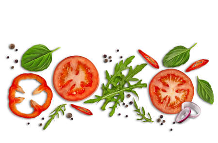 Collage of green leaves of arugula and basil, sliced red spicy and bell pepper, onion and tomatoes, black pepper peas. Isolated on white. Close up 版權商用圖片 - 151849958