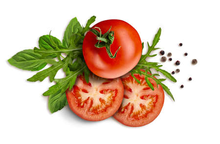 Collage of green leaves of arugula and basil, whole and sliced red tomatoes, black pepper peas are isolated on white. Close up, copy space, top view 版權商用圖片