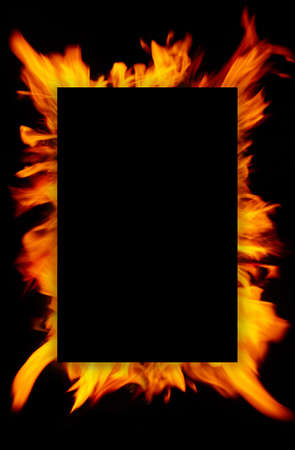 Frame of blurred bright burning hot fire flames against black background. Close up, copy space for your design, text or images 版權商用圖片 - 151849969