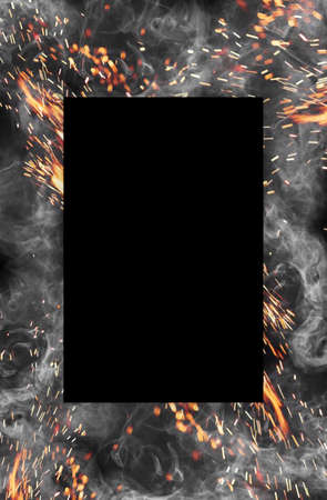 Frame made of smoke and hot sparks against black background. Close up, copy space for your design, text or images