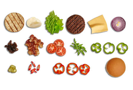 Set of ingredients for delicious burger isolated on white background. Cooking, fast food. Banner design. Close up, copy space 版權商用圖片 - 151849870