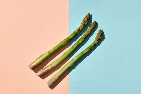 Three green raw asparagus stems on blue and pink background. Concept of healthy nutrition, food and seasonal vegetables harvest. Close up, copy space