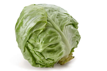 Whole, white-headed cabbage isolated on white background. Smooth-leafed vegetable, ripe harvest. Close up, copy space