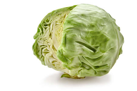 Fresh harvested, pale green cabbage without one cut off part. Isolated on white background. Smooth-leafed vegetable. Close up, copy space