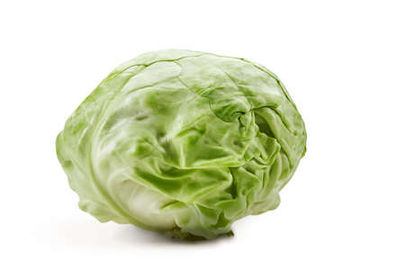 Whole, pale green cabbage isolated on white background. Smooth-leafed vegetable, ripe summer crop. Close up, copy space 版權商用圖片
