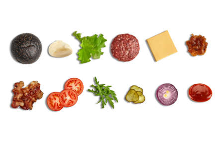 Set of ingredients for tasty black burger isolated on white background. Cooking, fast food. Banner design. Close up, copy space 版權商用圖片 - 155264576