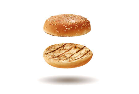 Flying baked or grilled burger bun with sesame seeds isolated on white. Template, mock-up, advertising. Close-up, copy space 版權商用圖片 - 155264583