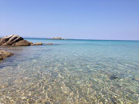 Rocky Beach at Chalkidiki Greece Stock Photo