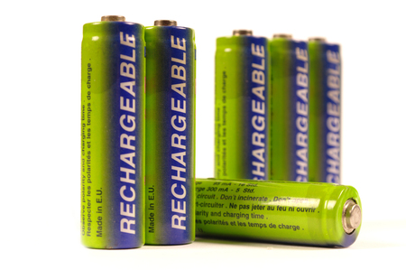 nimh: row of rechargeable batteries