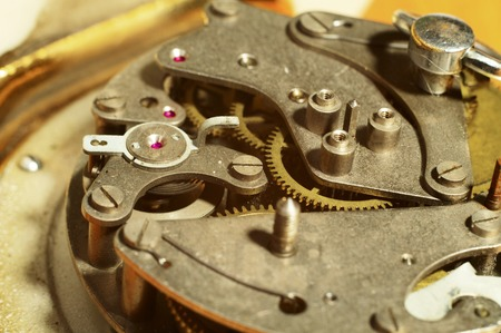 disassemble: closeup of the old clock mechanism Stock Photo