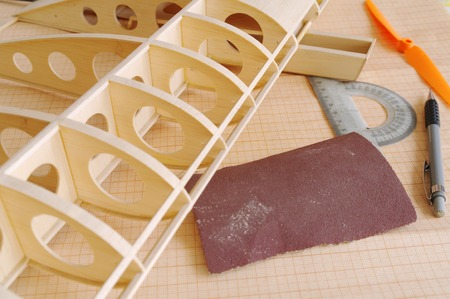 emery paper: RC airplane model on the workshop