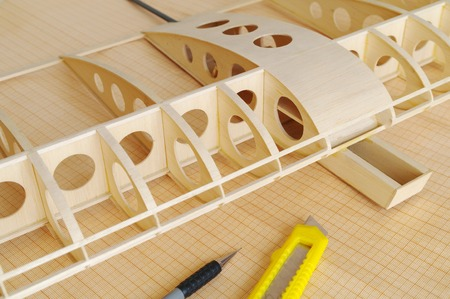 balsa: unfinished RC airplane
