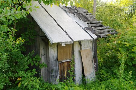 forlorn: old ruined abandoned hut in a scrub Stock Photo