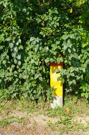 road shoulder: painted concrete milestone in a bush on the road