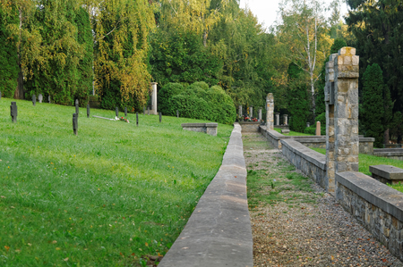 gravelly: gravelly alley on a historical military cemetery Stock Photo