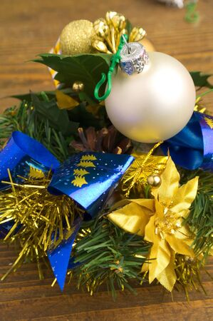 fir twig: christmas decoration with a bauble and fir twig
