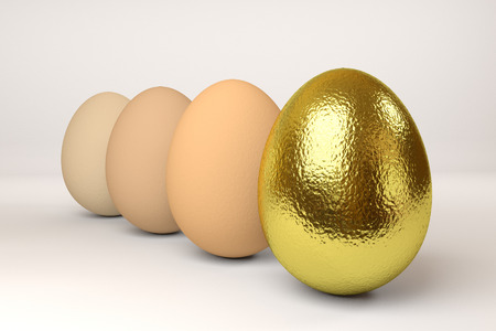 one golden and three hen eggs in a row