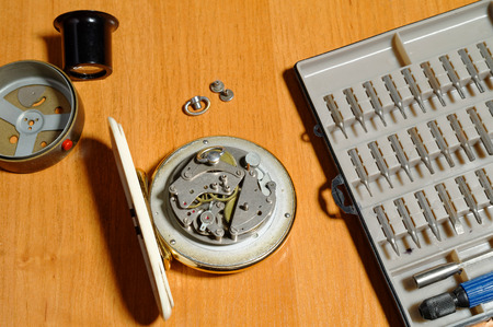 disassemble: tools set for the old clock repairing