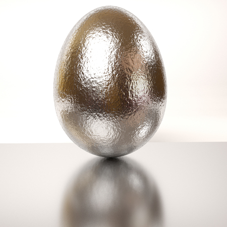 rendered: single rendered silver egg on a white background