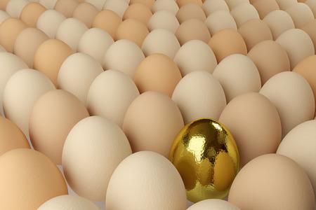 たくさんの卵一つ、黄金のレンダリング 写真素材