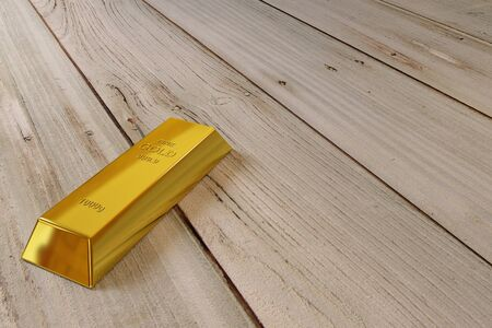goldbar: single gold bar on the old planks Stock Photo