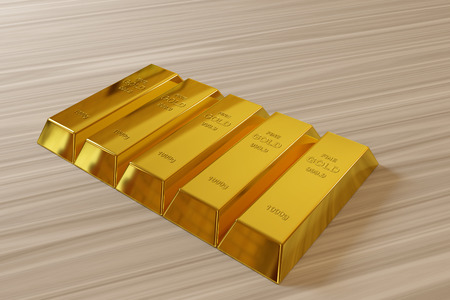 goldbar: row of rendered gold bars on the desk Stock Photo