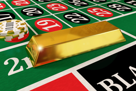 goldbar: rendered gold bar and tokens on the roulette table